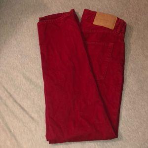 Red Denim Boyfriend Jeans